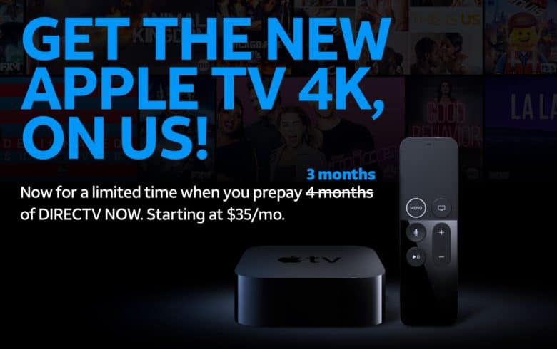 Bag a free Apple TV 4K when you buy 3 months of DirecTV Now