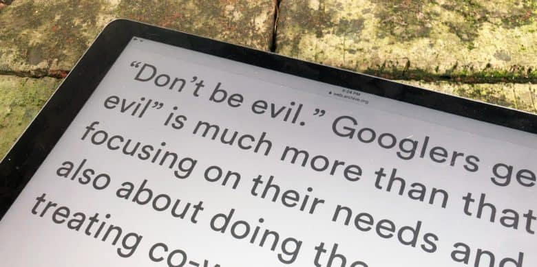 'Don't be evil' went from the first sentence of the Google code of conduct to the very last.