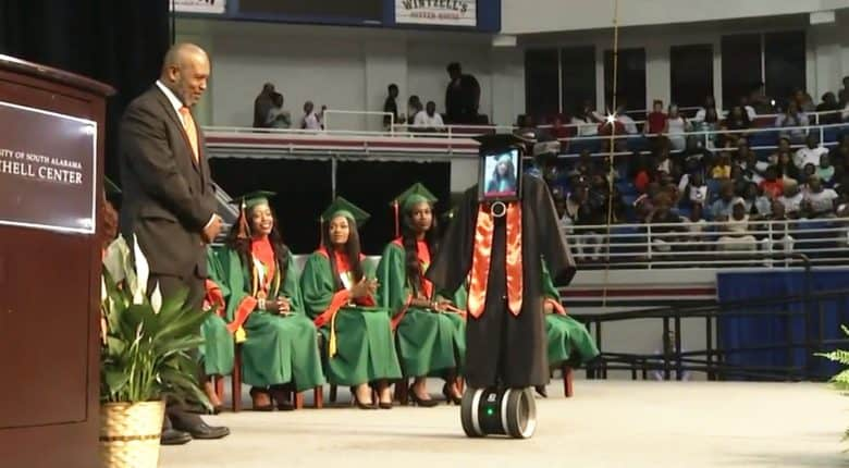 iPad robot helps teen attend her high school graduation.