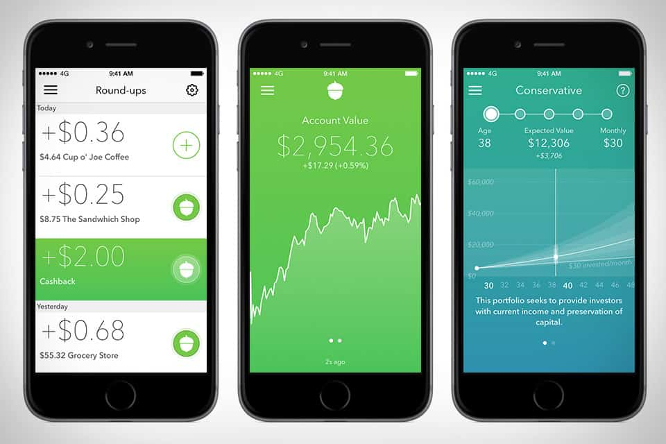 The Acorns savings app automatically invests your spare change for you.