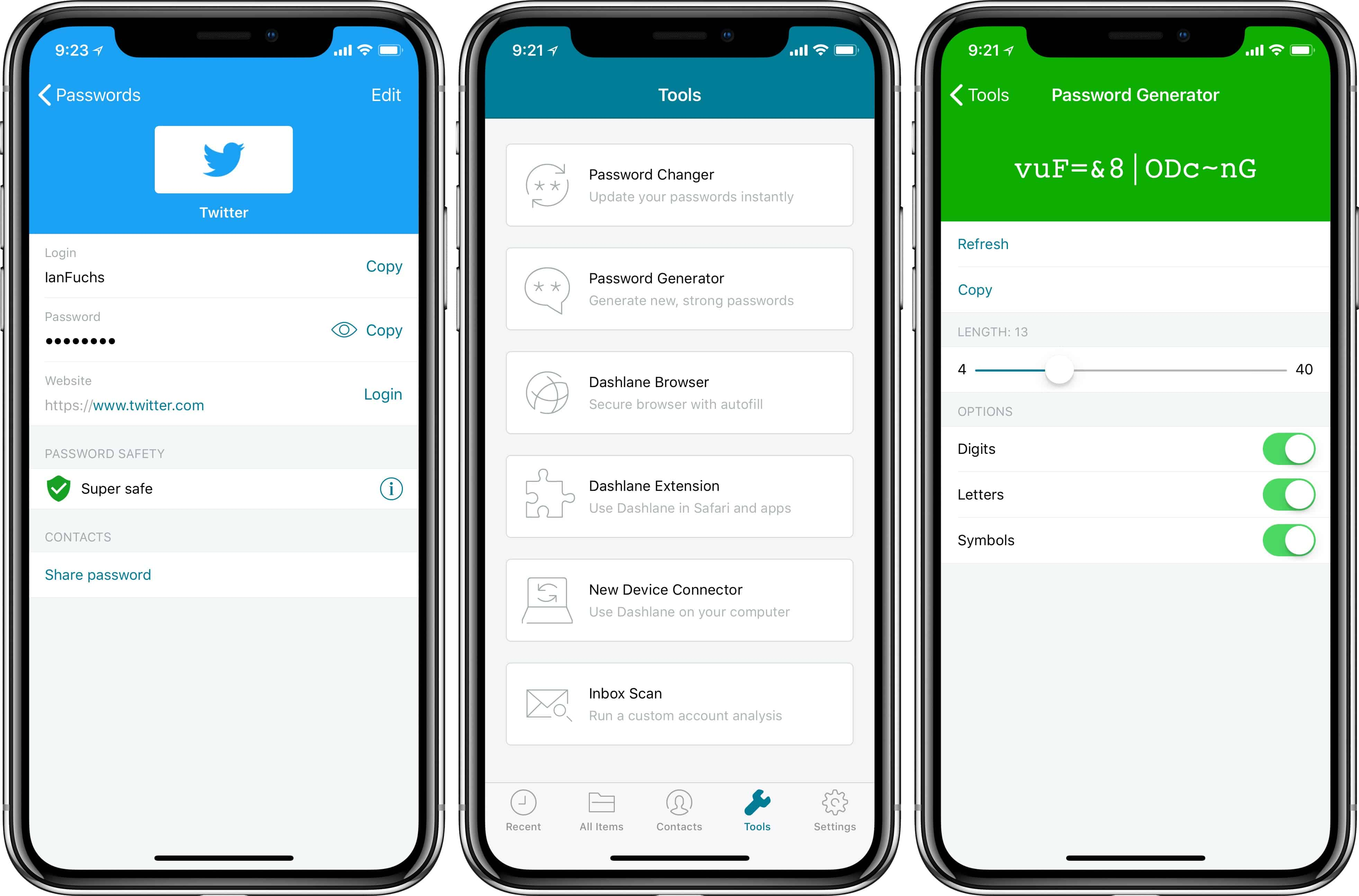 Dashlane iPhone X login, menu, and password generator