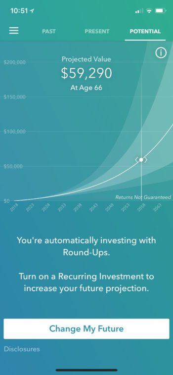 Acorns Projected Value Chart: The slick interface shows how the money you invest now will grow in the future.