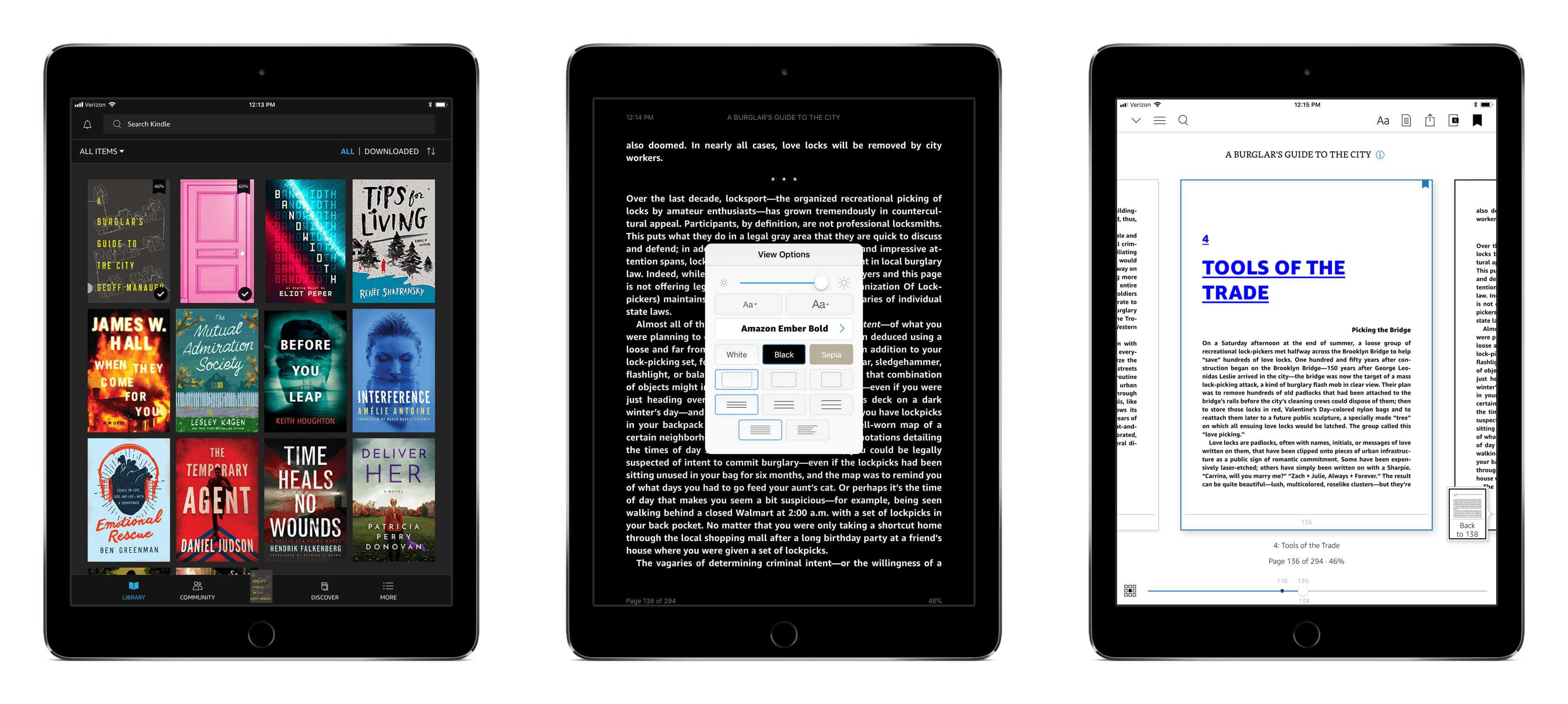 Kindle App library, display options, and ebook navigation