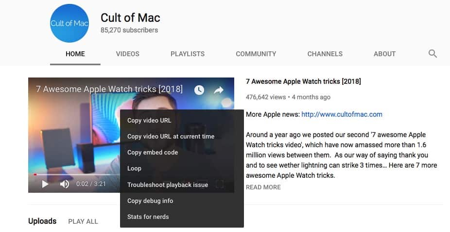 YouTube disables Safari's contextual menu.