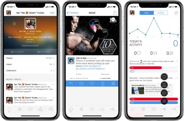 Tweetbot on iOS profile, tweet and activity view