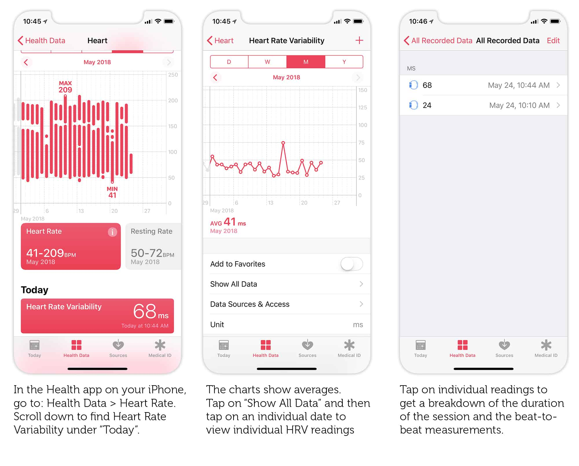 Check your Heart Rate Variability readings with the Health app on your iPhone