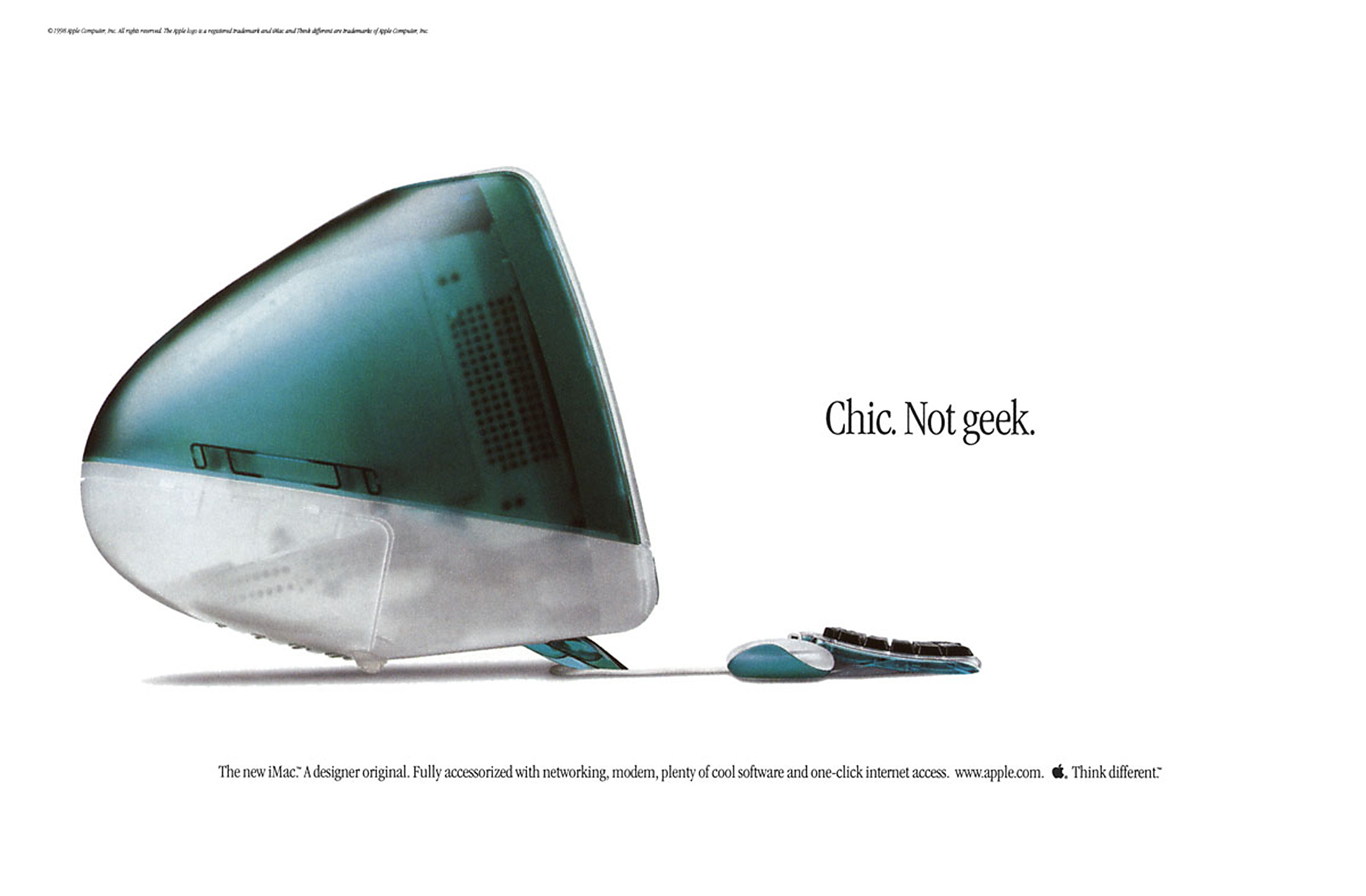 "Can the iMac design ever be this exciting again? The original iMac G3 ad, ""Chic. Not Geek."""