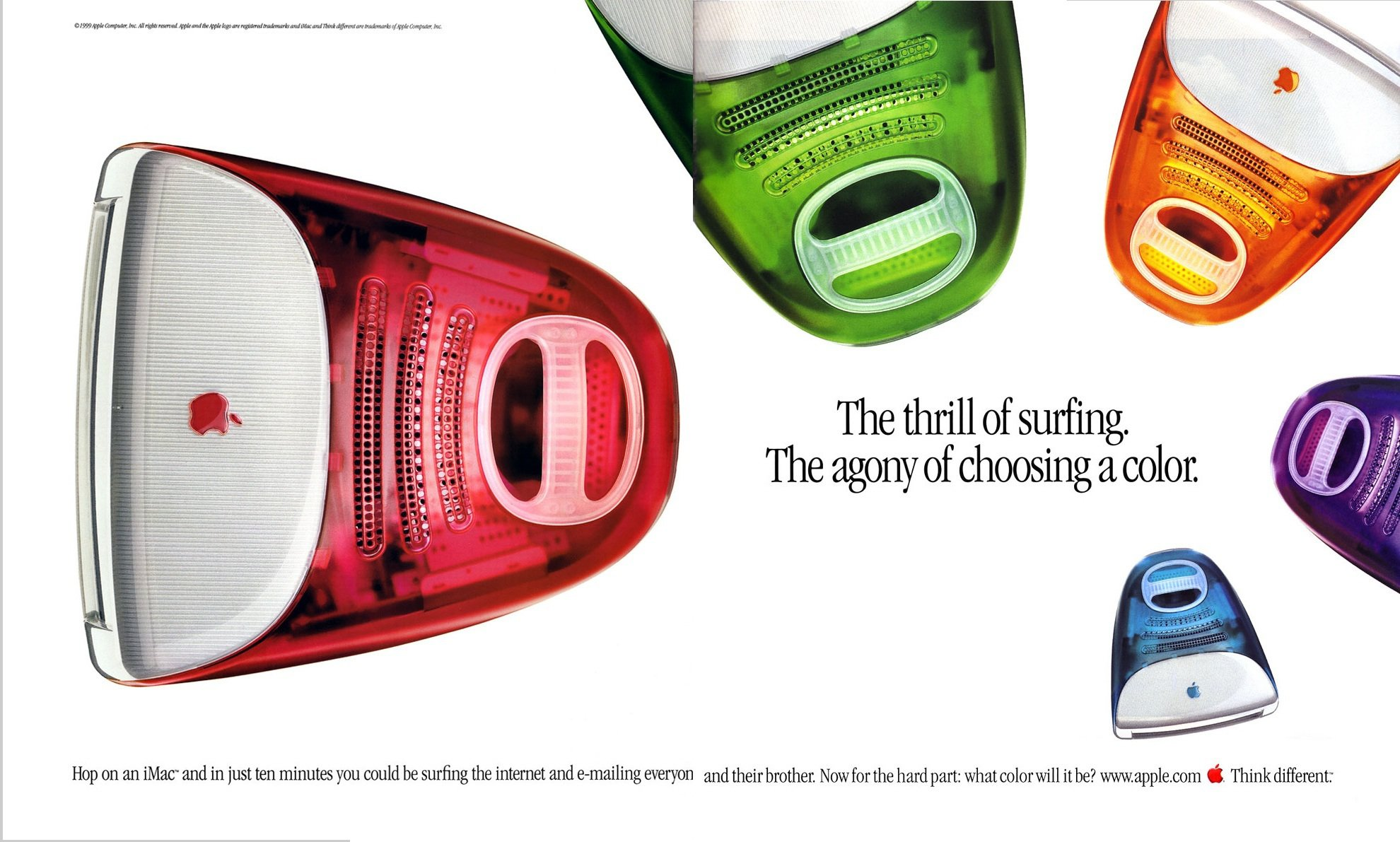 "Vivid colors made the early iMac design stand out in a sea of beige. An iMac G3 ad, ""The thrill of surfing."""