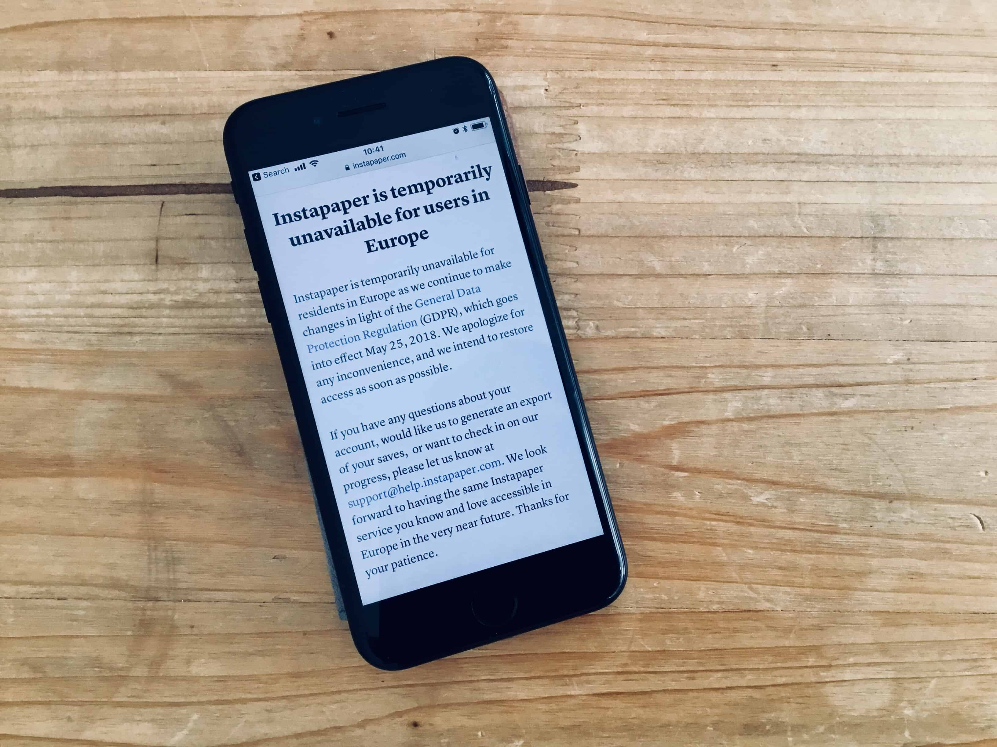 Instapaper punishes its European users use