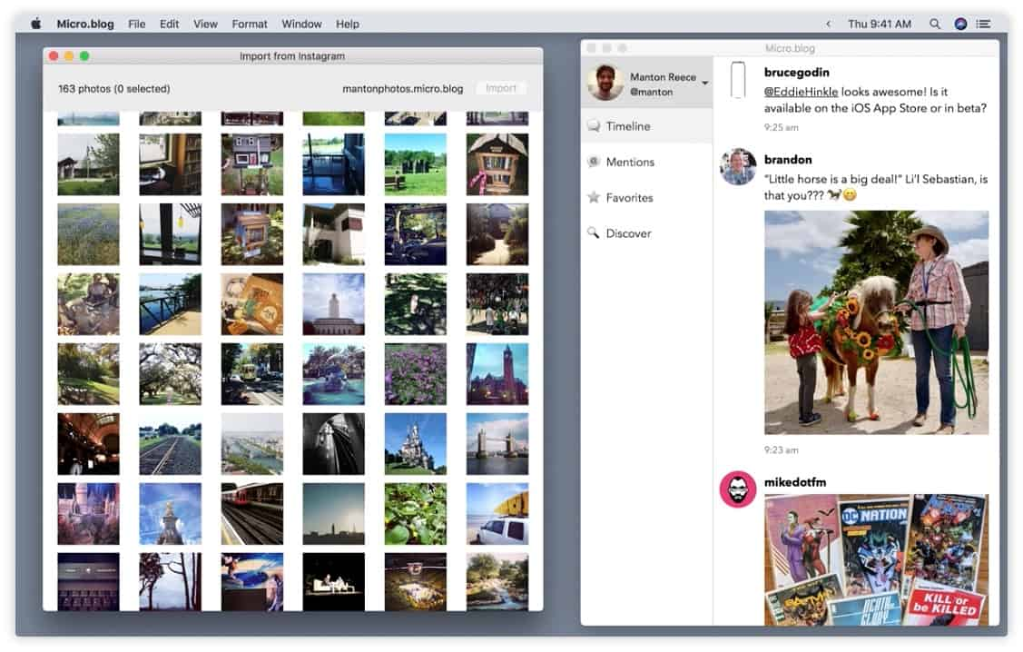 Instagram import in Micro.blog for Mac.