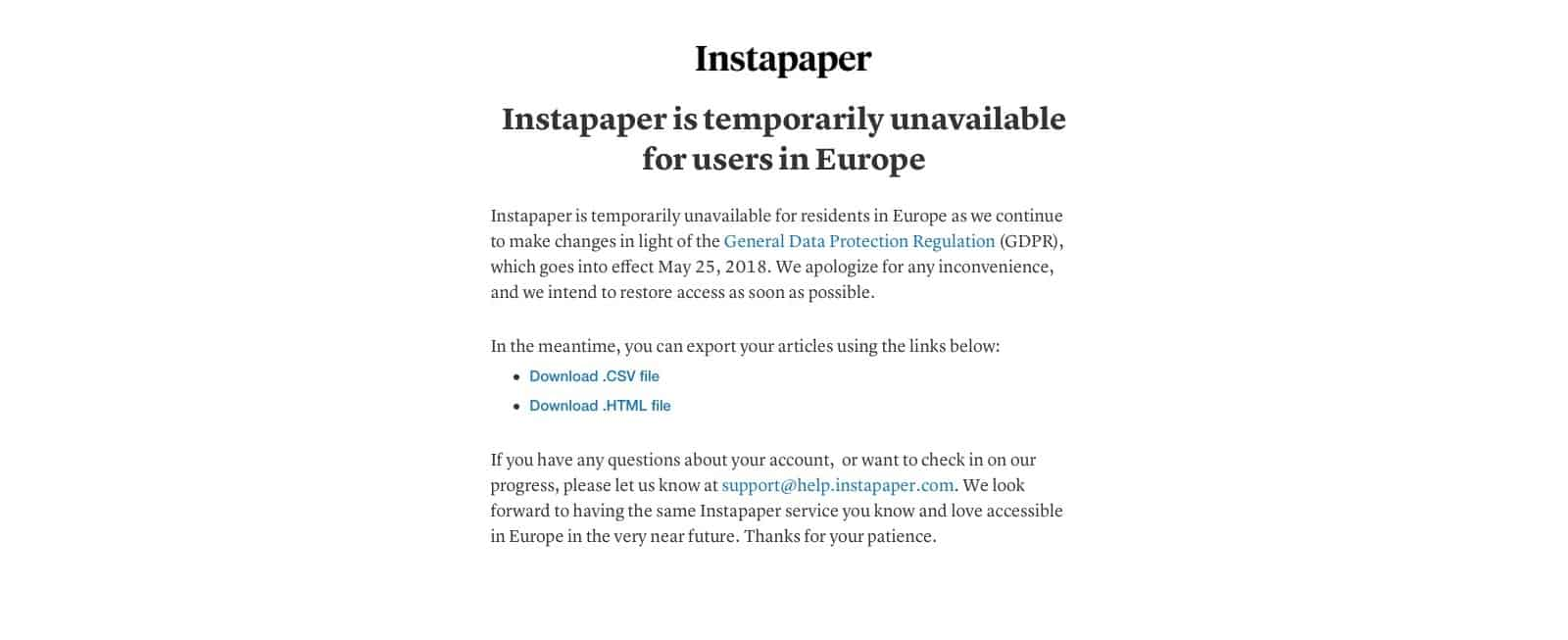 Instapaper is unavailable to EU users.