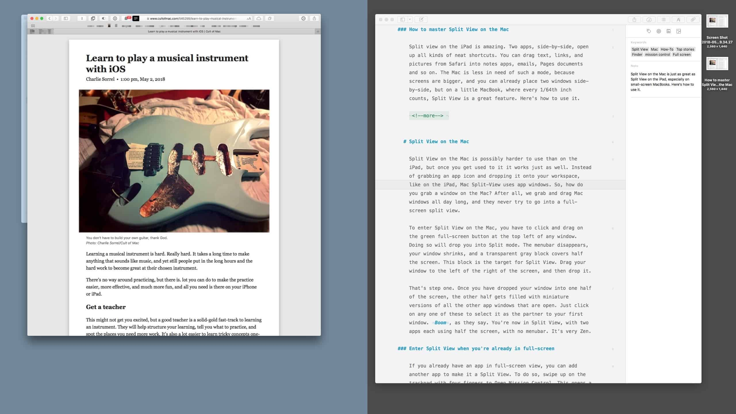 Entering Split View on the Mac.