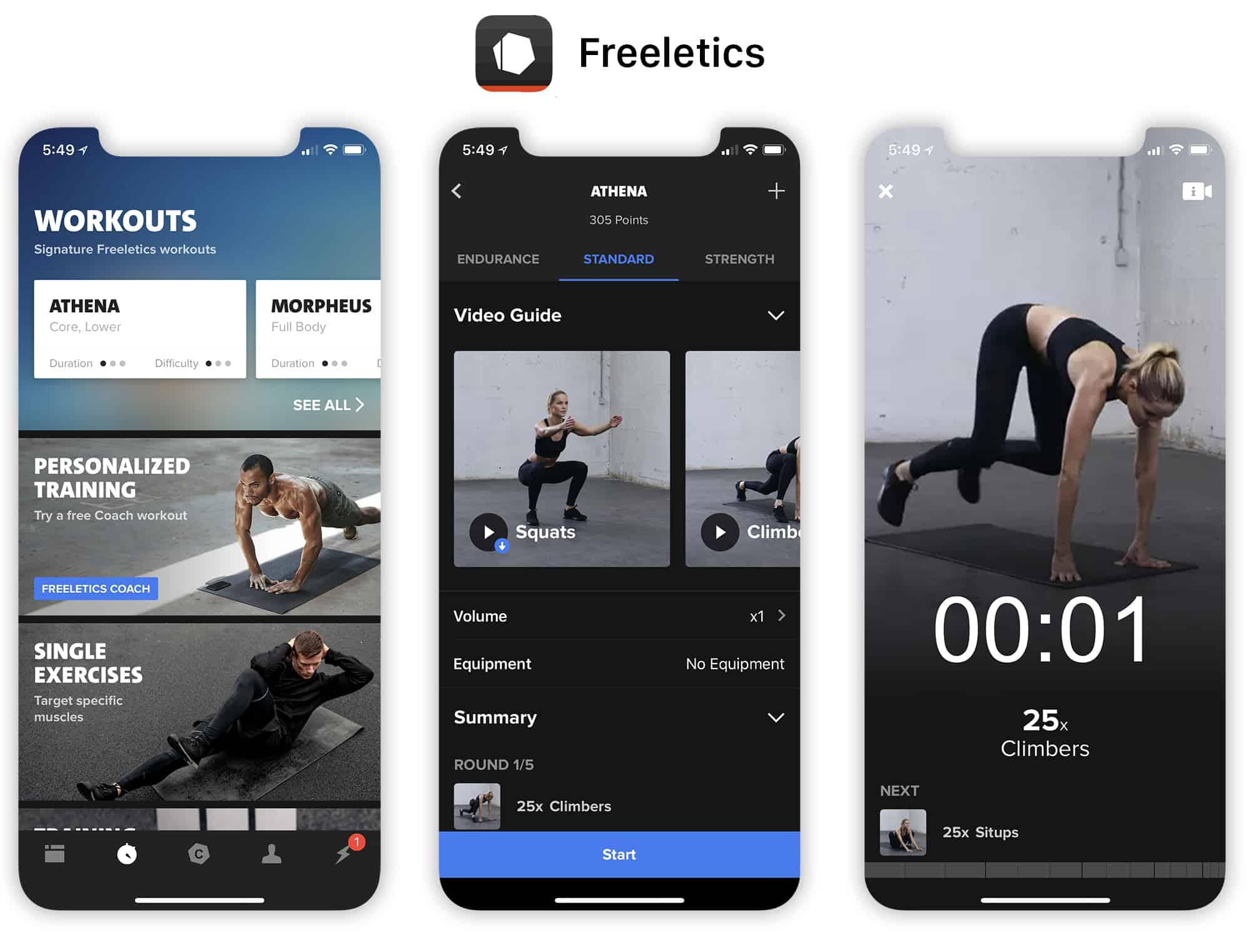 Freeletics offers two apps, one for bodyweight exercises and the other for free weights