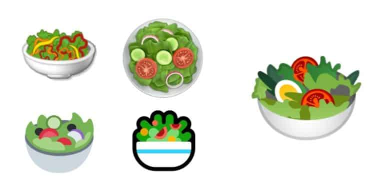 Salad emoji from various companies