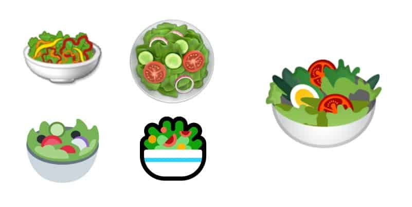 Salad emoji from various companies