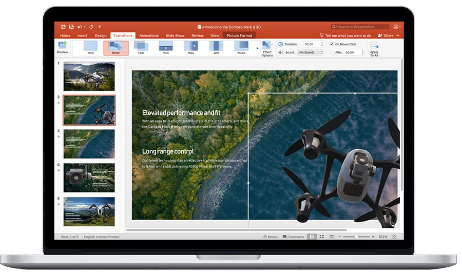 Morph transitions in Power Point are a part of Office 2019 for Mac
