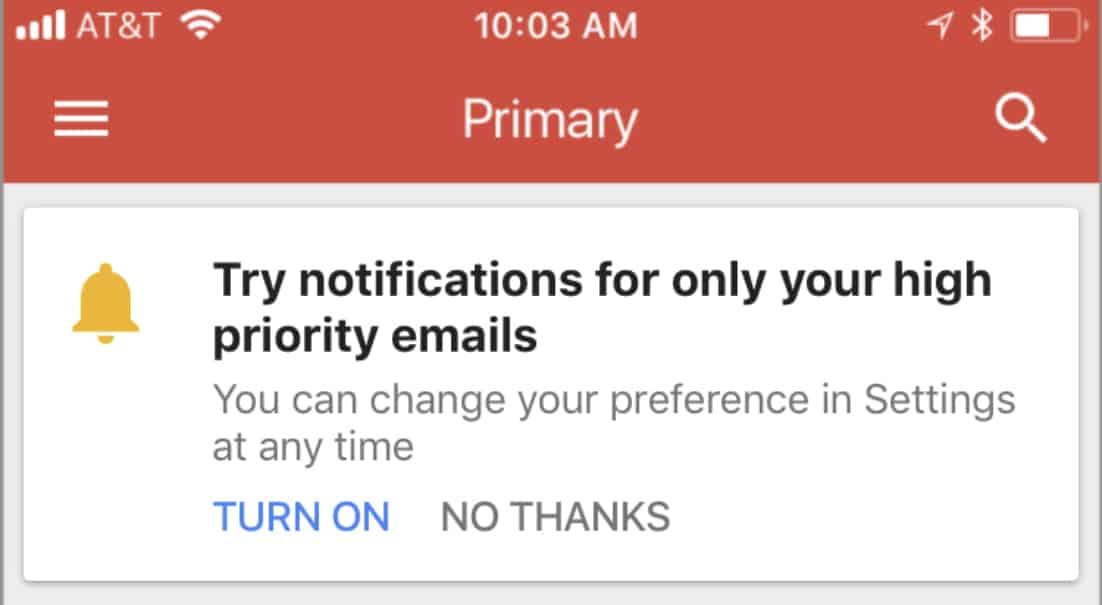 Gmail App Now Lets You Limit Notifications to 'High Priority' Emails Only