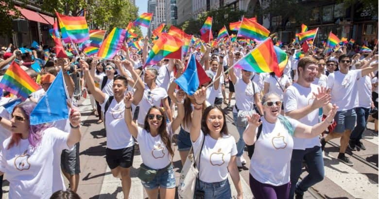 Apple employees in Pride parade