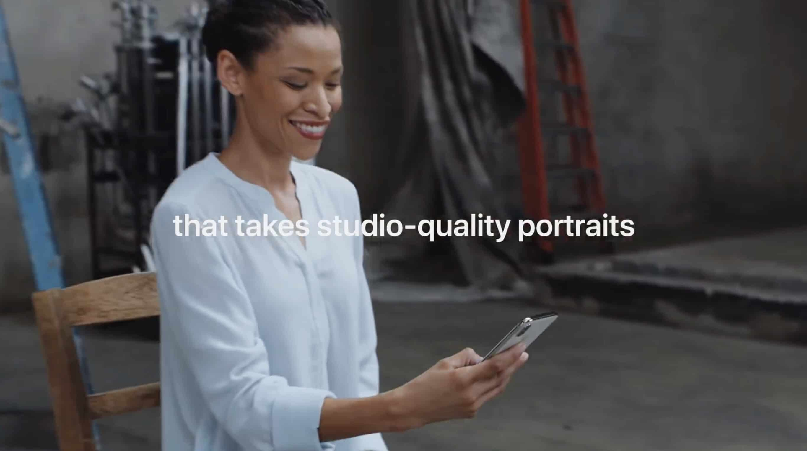 Apple ad says iPhone X takes studio-quality portraits.