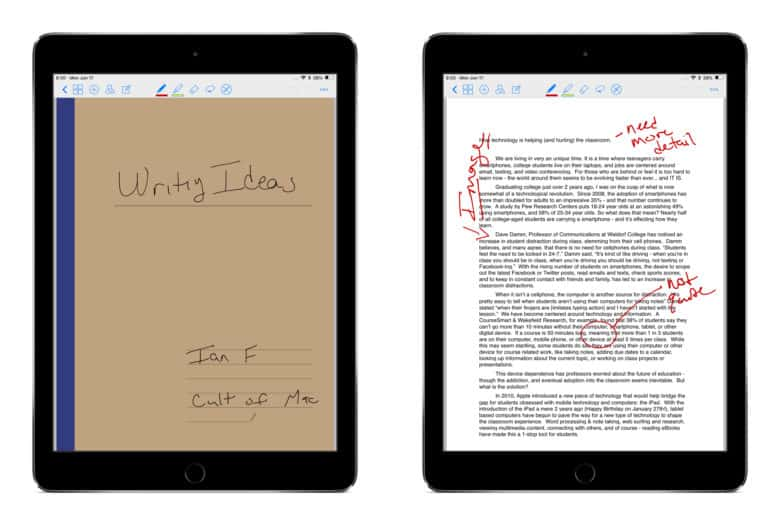 GoodNotes 4 cover page and annotated document on iPad Pro