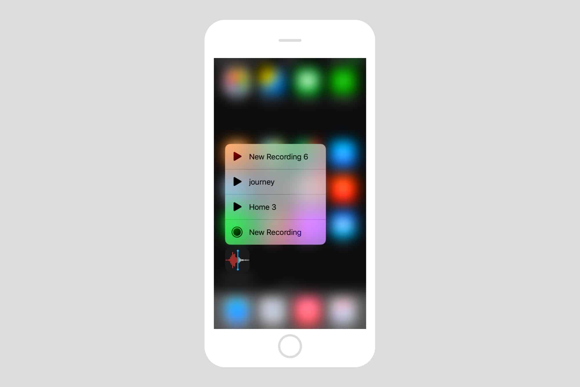The 3D Touch widget for Voice Memos in iOS 12.
