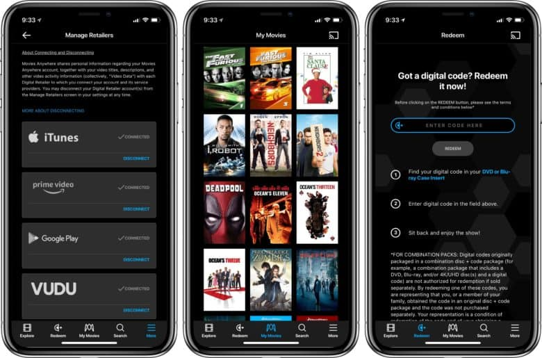 Movies Anywhere Services, Movies, and Redemption screen