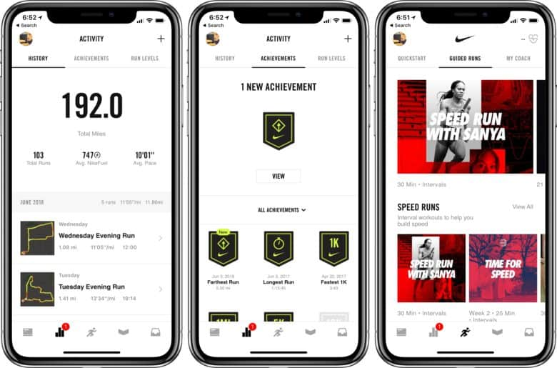 Run log, achievements, and guided runs on Nike+ Run Club