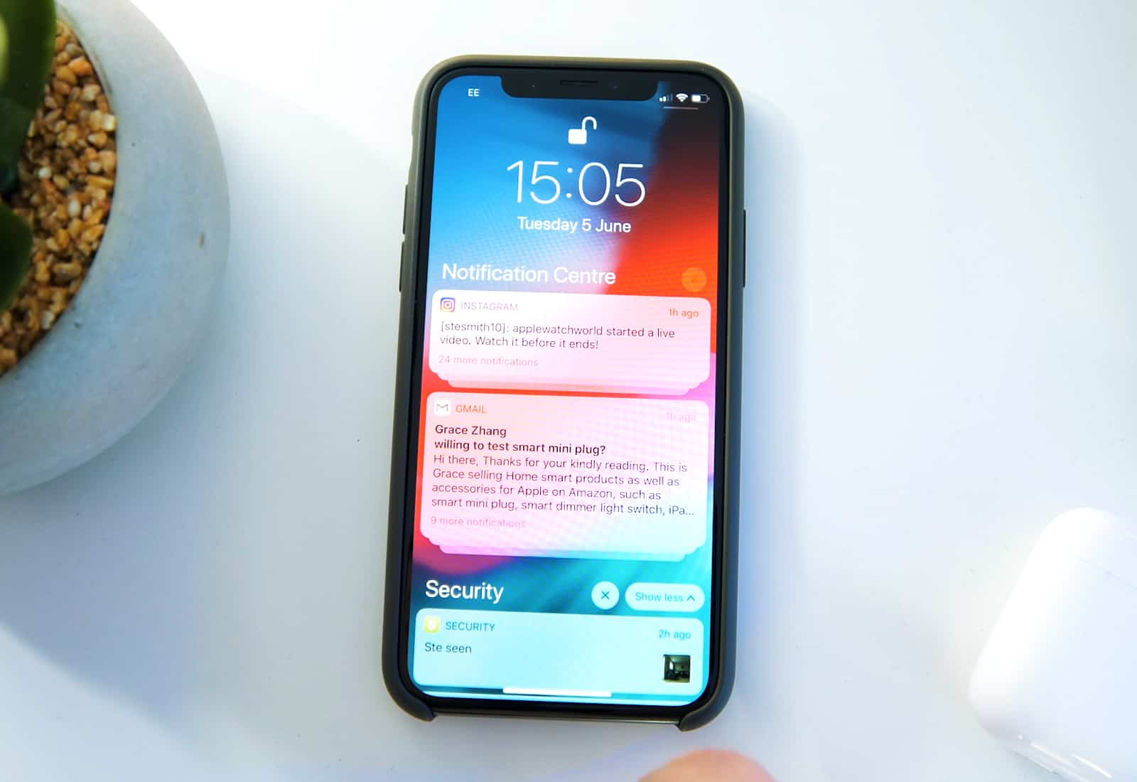 notification centre iOS 12
