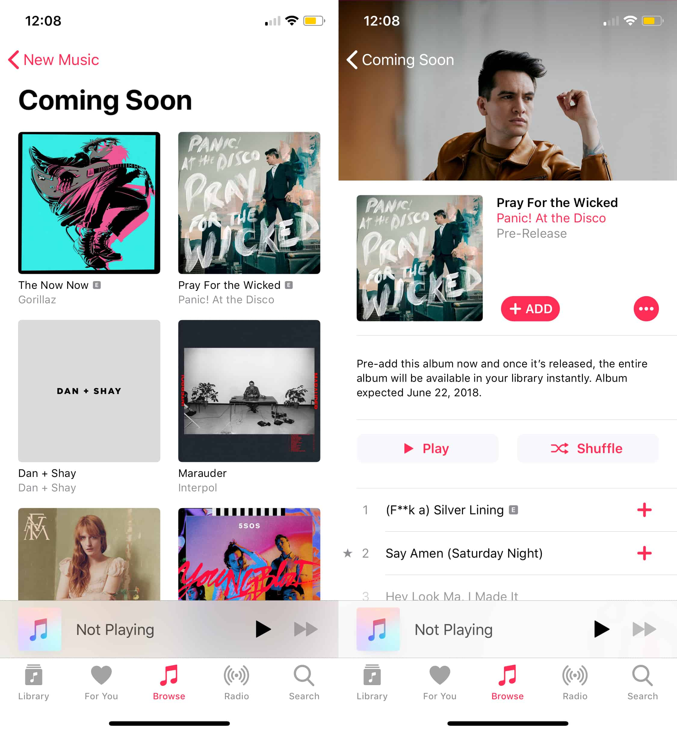 The new Apple Music Coming Soon feature keeps you updated on upcoming releases.