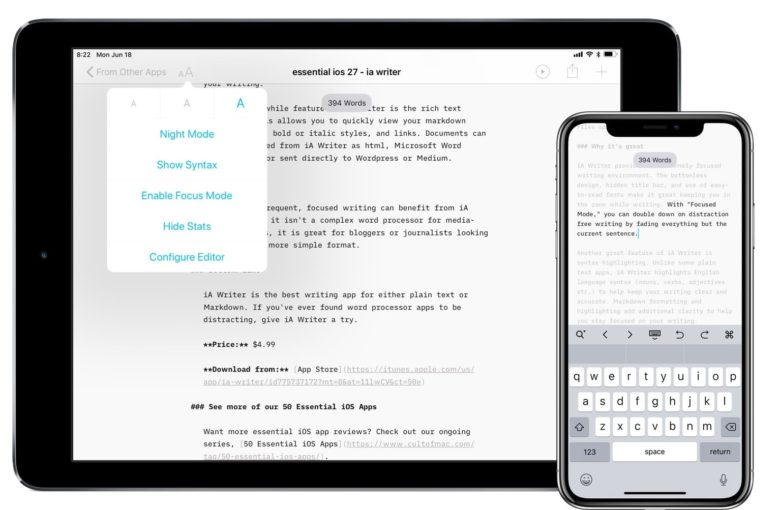 iA Writer on iPad and iPhone mode options