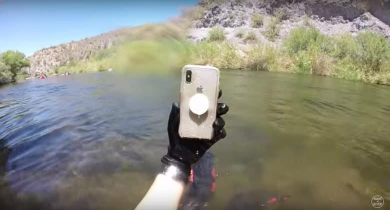 submerged iPhone