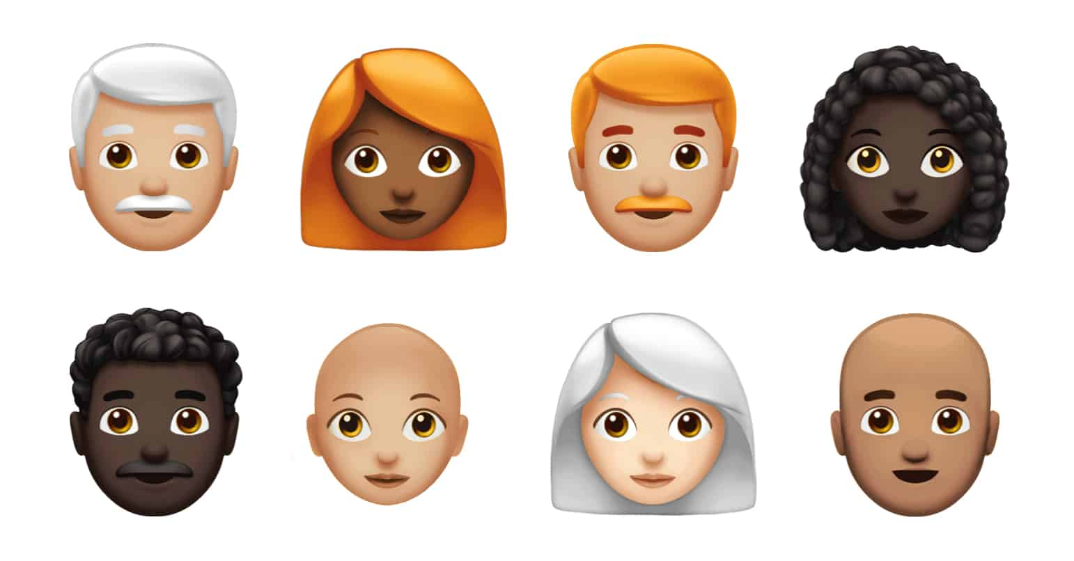 New Apple emoji offer more hair options, including the ever-popular no hair option.