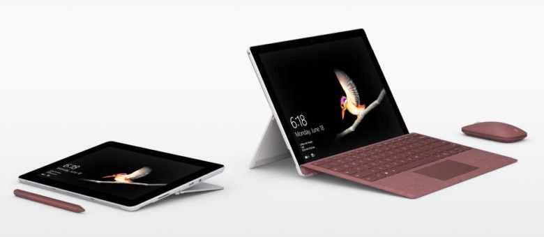 Microsoft Surface Go with optional accessories.