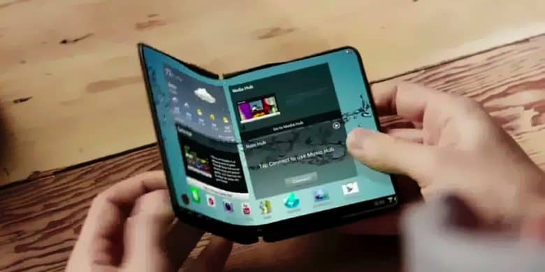 This early prototype Samsung foldable phone suggests how the Galaxy X might look.