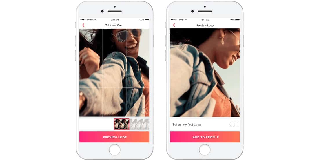 Tinder Loops are videos people can swipe left or swipe right on.