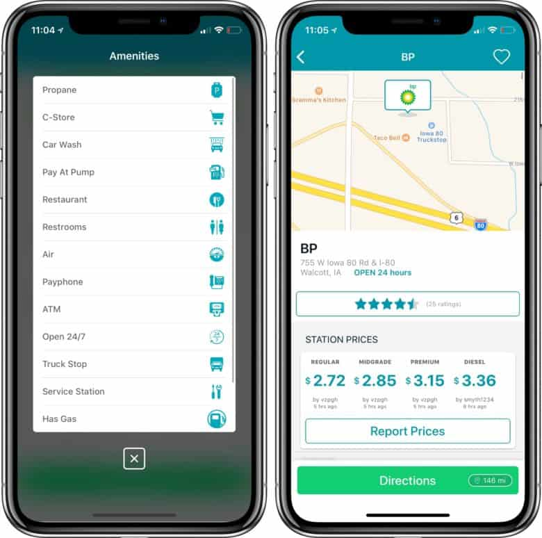 GasBuddy amenities and fuel prices screenshots