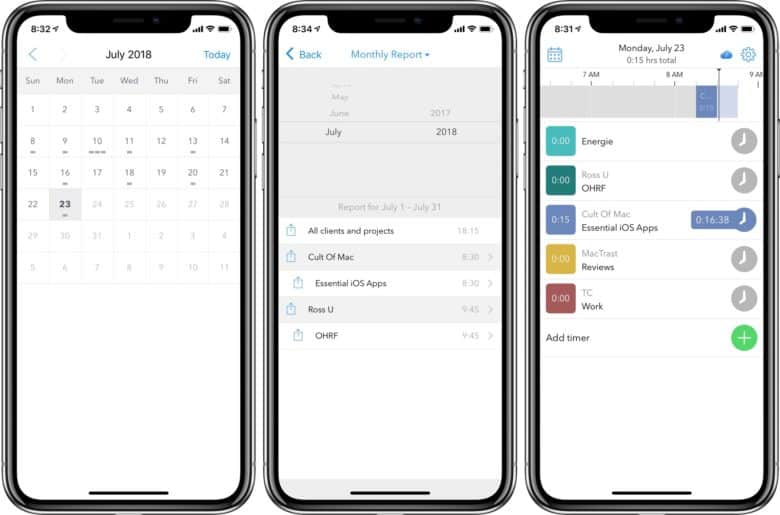 Hours calendar view and time report