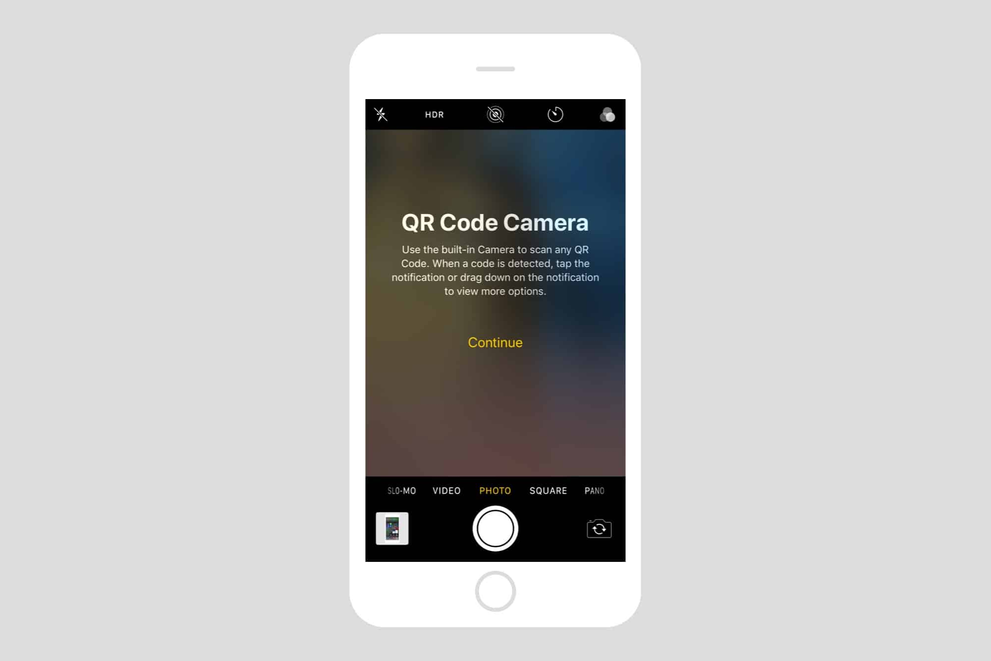 The QR Code camera tells you all about itself and scanning QR codes.