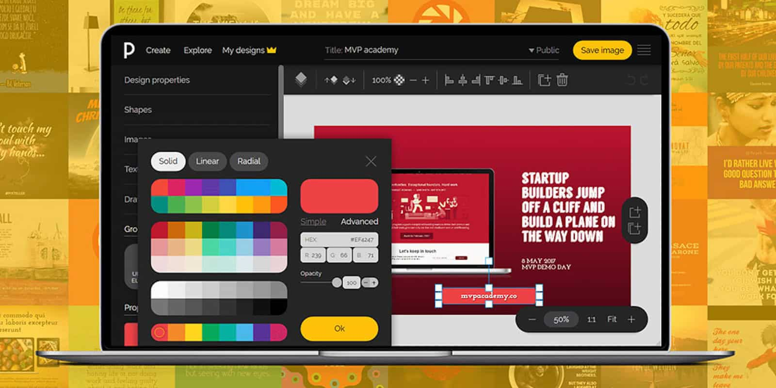 No graphic design skills? No problem. This web based app makes graphic design accessible to anyone.