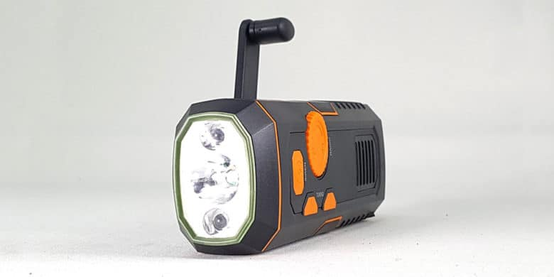 This emergency flashlight also includes a built-in power crank, radio, siren, and more.