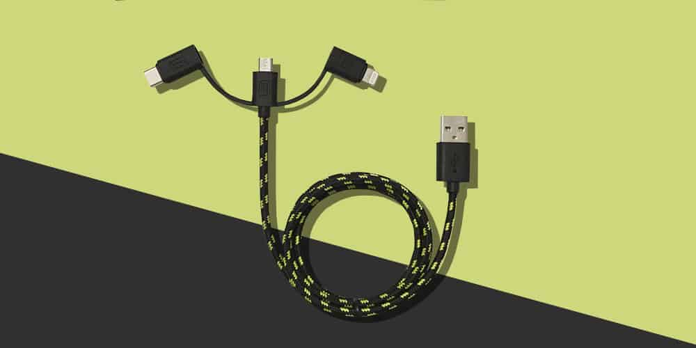 This single cable is built tough, tangle-free, and is compatible with 3 different connection types.