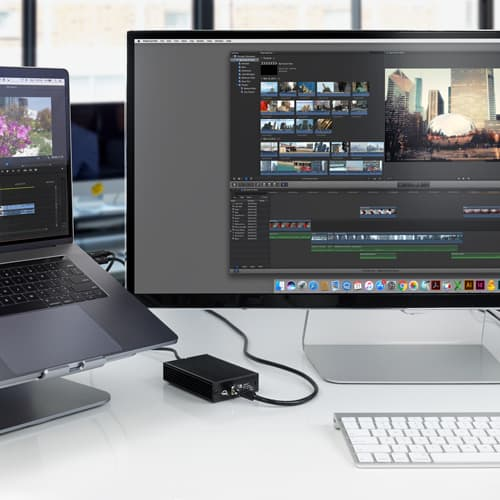 The OWC Thunderbolt 3 10G Ethernet Adapter works with recent MacBook Pro models.