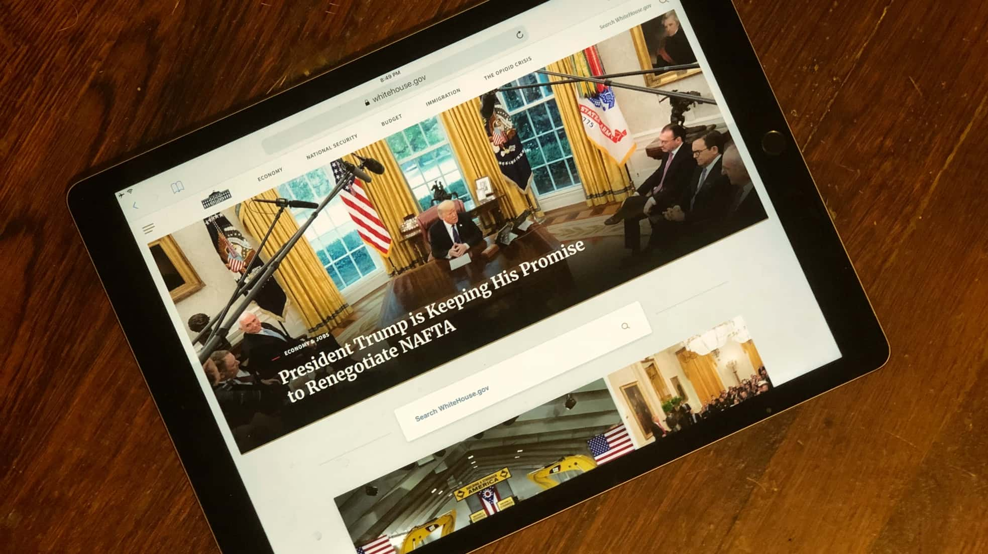 The Trump iPad might be how the president starts his day each morning.