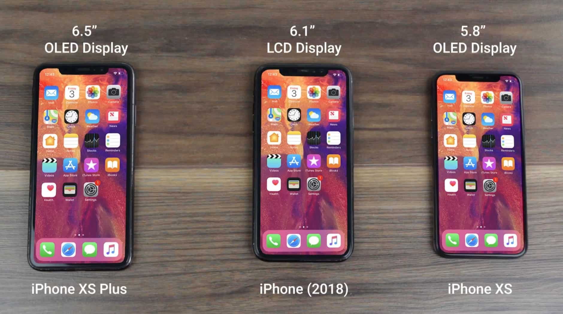The three 2018 iPhone models appear side-by-side , along with possible names.