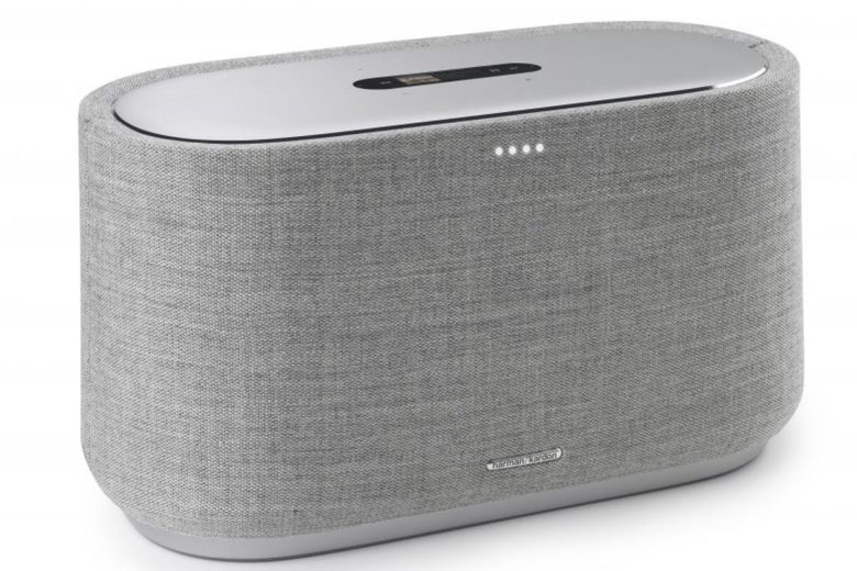 This Harman Kardon smartspeaker has a cloth exterior, somewhat similar to the HomePod..