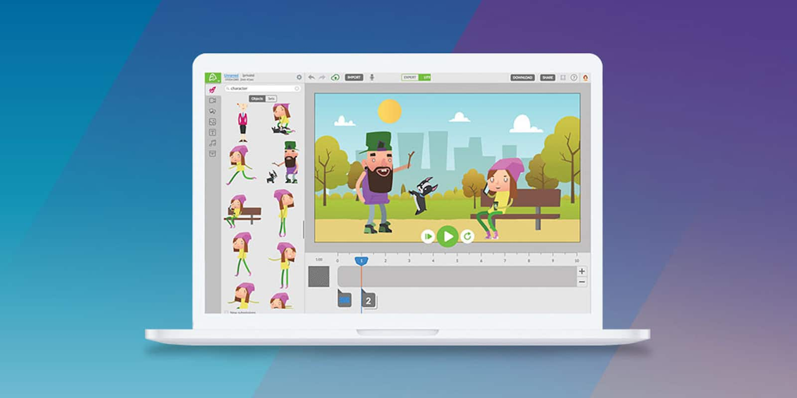 With this web-based editor you can easily create engaging animations for teaching, presentations, branding, and lots more.