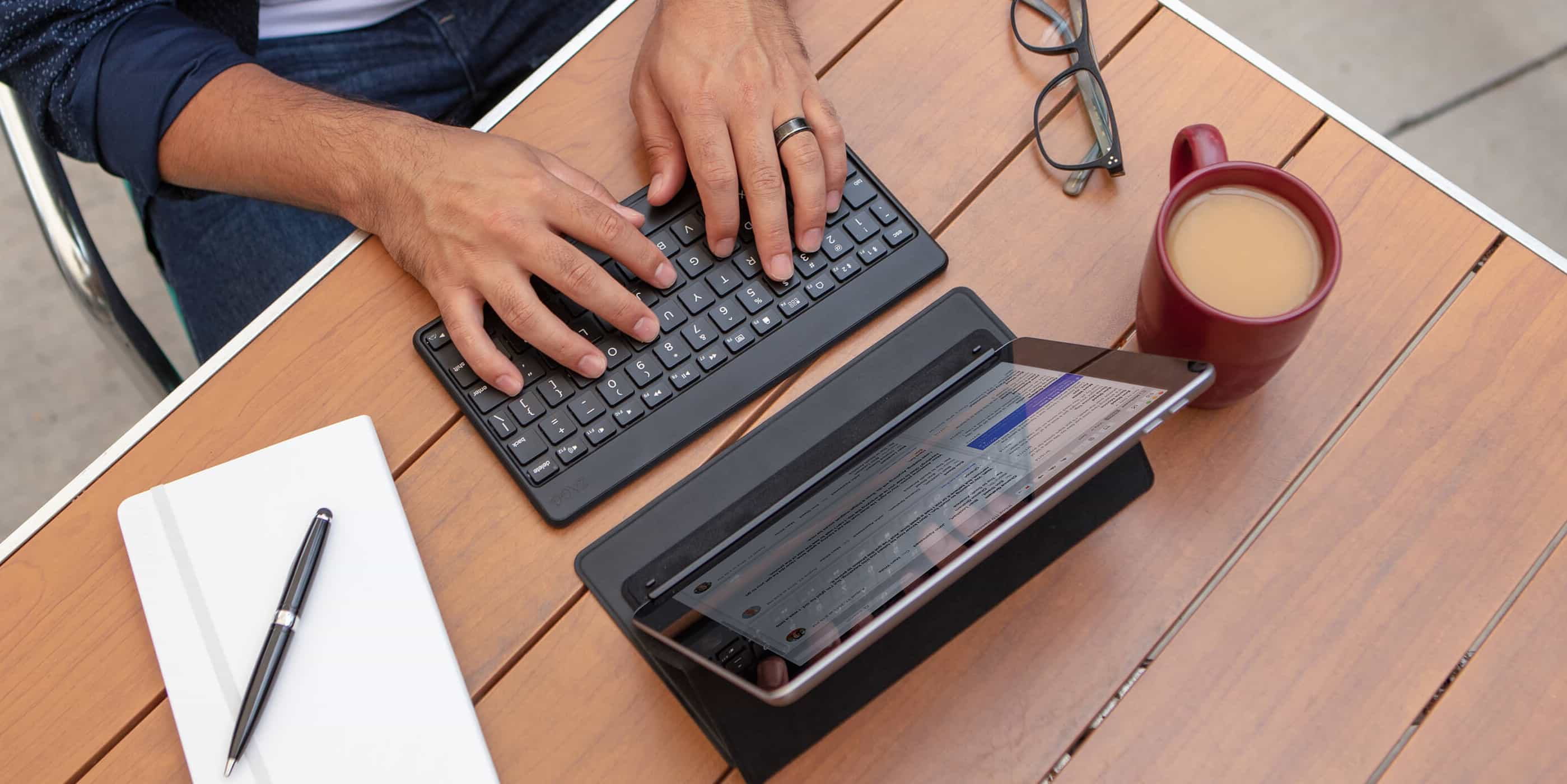 Touch type on your iPad or iPhone with the Zagg Flex universal keyboard.