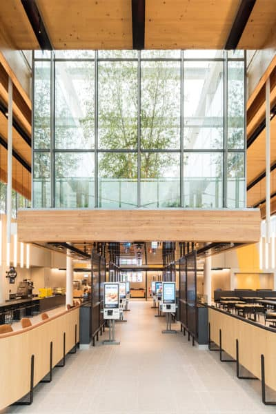 Trees are an important part of the new Chicago flagship McDonald's design.
