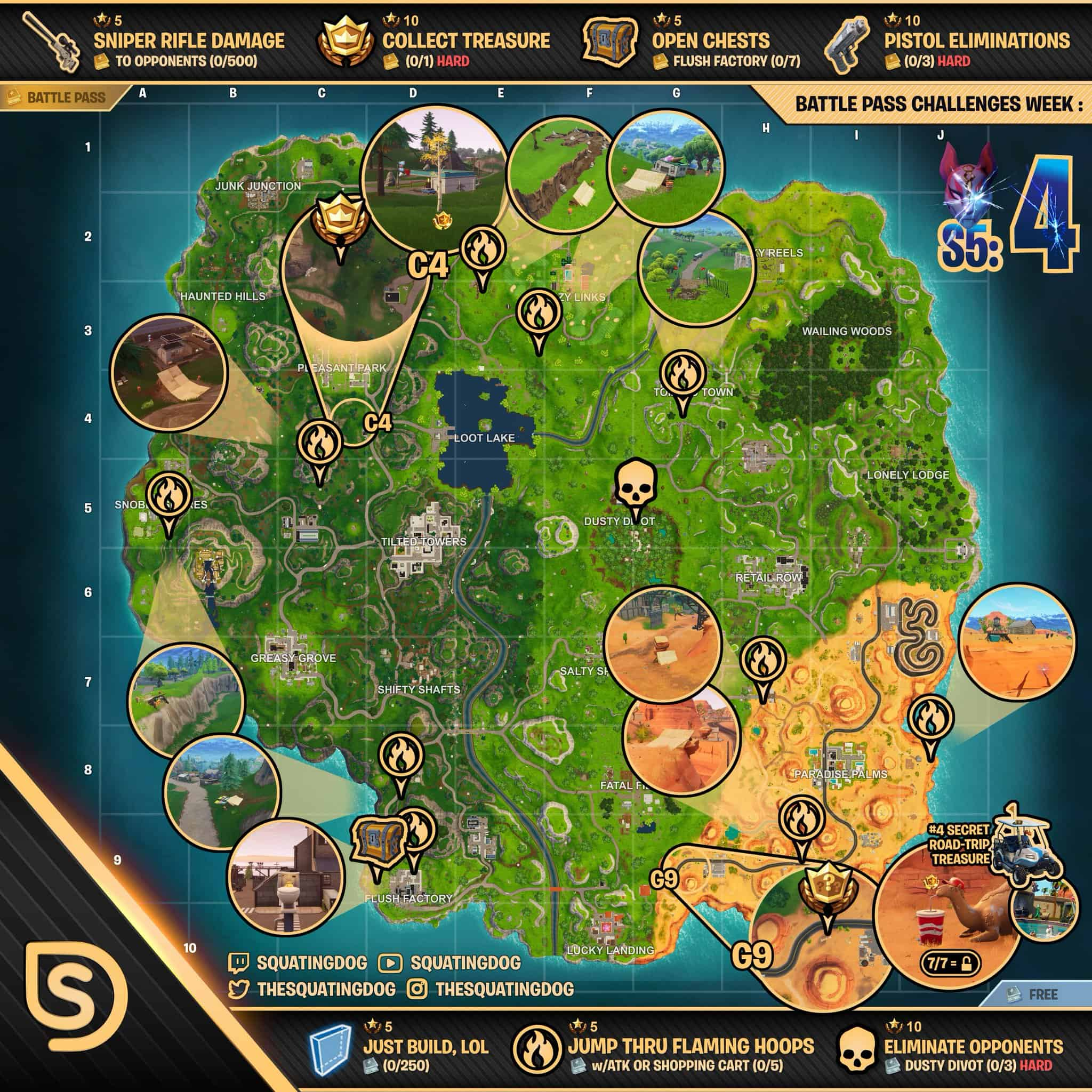 Fortnite season five week four map