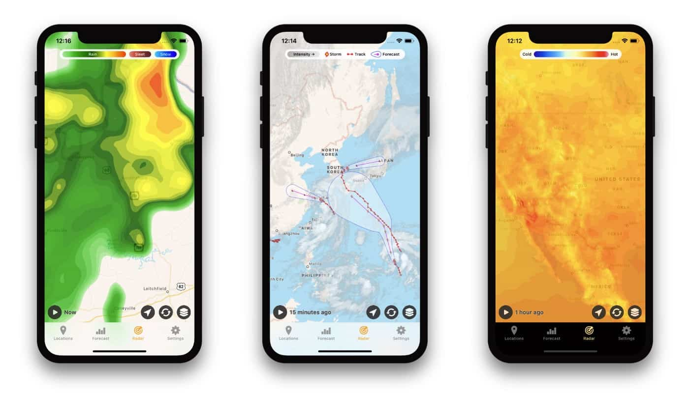 The Hello Weather app offers tons and tons of maps.